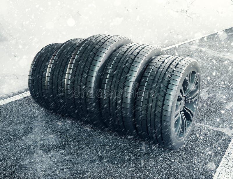 Snow tires on the road, 3d render illustration vector illustration
