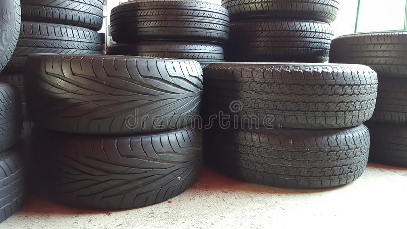 Tires stack. In the tires store royalty free stock photography