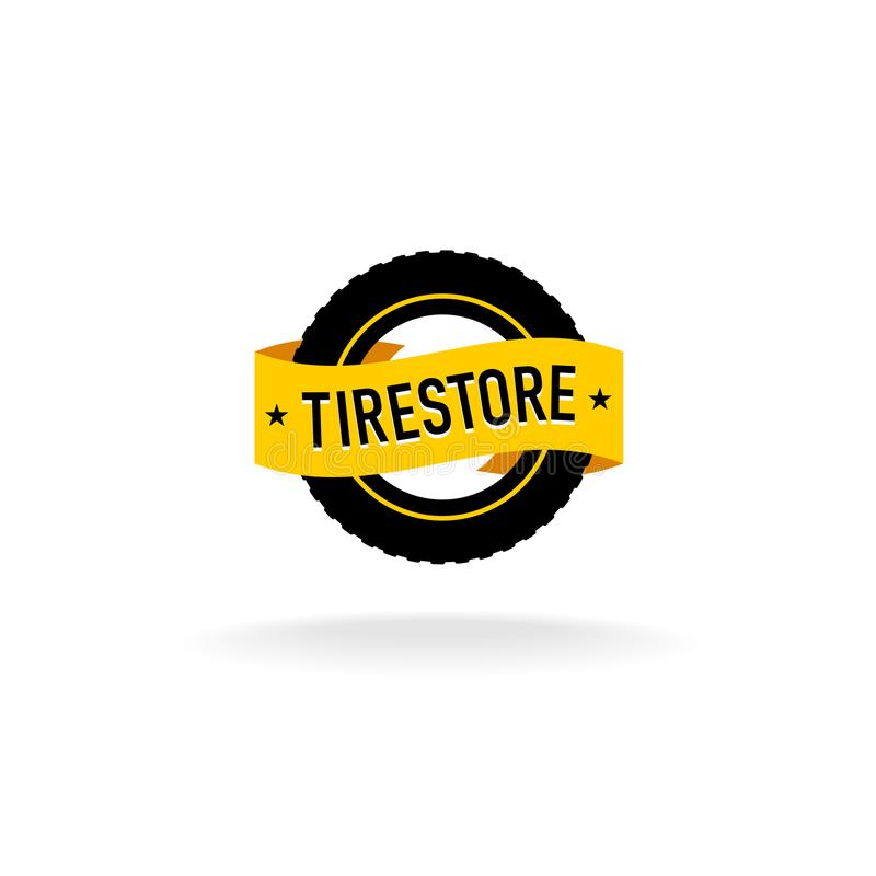 Tires store logo. Black tire silhouette with orange ribbon with text vector illustration