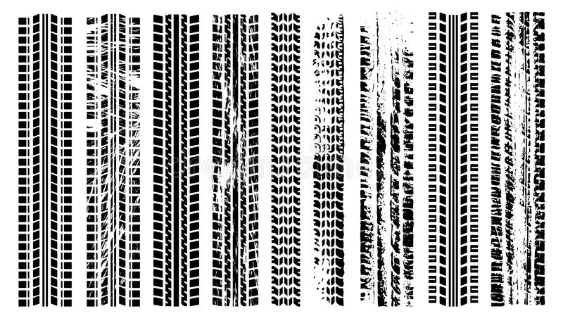 Tires trail silhouette set. Imprint of the car. Grunge tire tracks. Trace of automotive rubber vector illustration