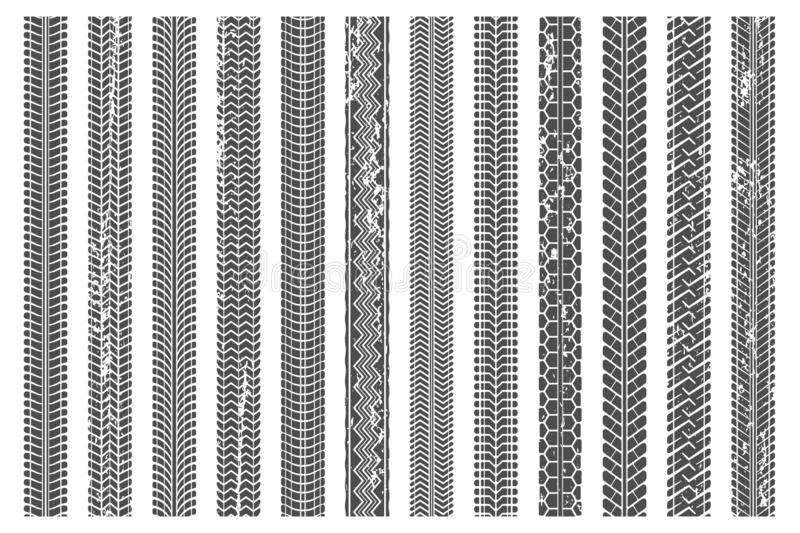 Tires tread tracks. Dirty tire track, grunge texture treads pattern and truck car trace vector illustration set. Tires tread tracks. Dirty tire track, grunge stock illustration