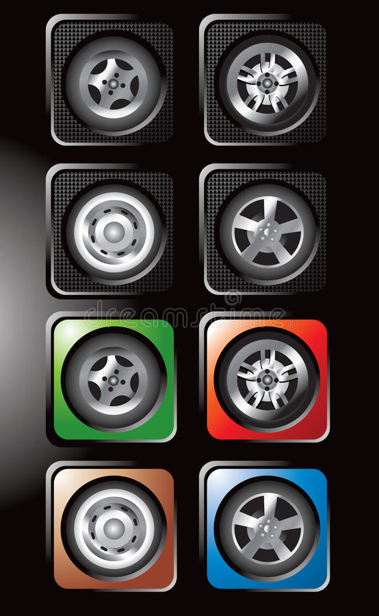 Tires and various rims in square web buttons stock image