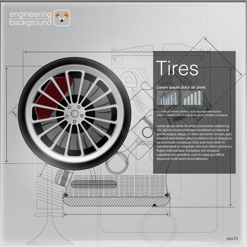Tires. Vector illustration. cars info royalty free illustration