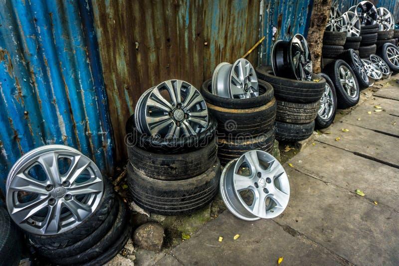 Tires velg in sidewalk seller gallery photo taken in Jakarta Indonesia stock photos