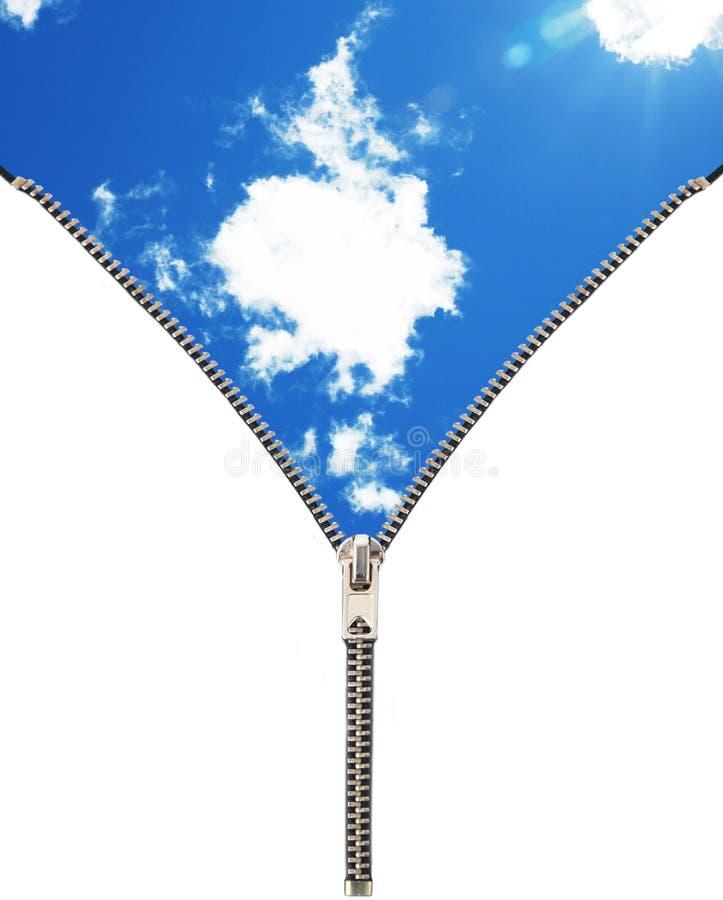 Tirette ouvrant le ciel image libre de droits