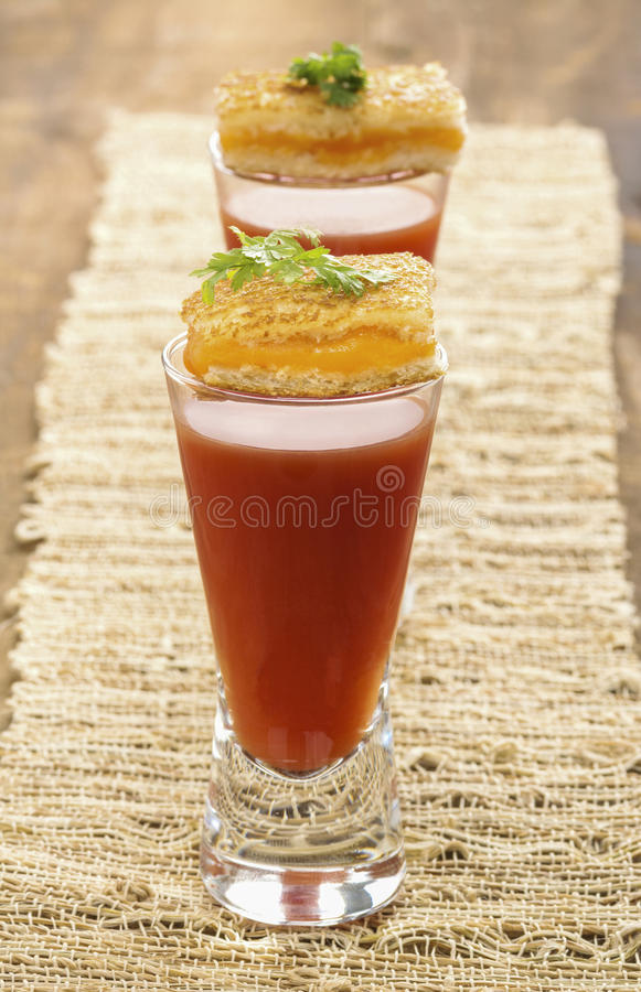 Tireur de soupe à tomate avec les apéritifs grillés de fromage image libre de droits