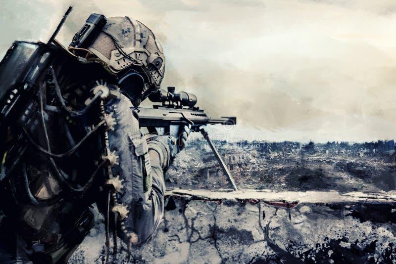 Tireur isolé futuriste d'armée illustration stock