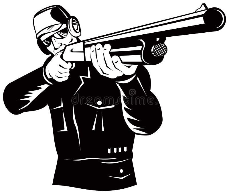 Tireur orientant le fusil de chasse vous illustration de vecteur