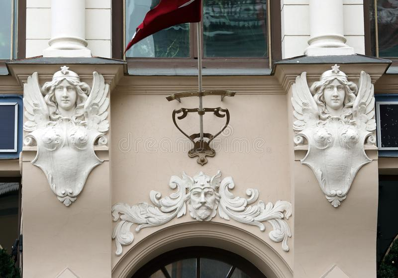 Tirgonu 4 street Riga Latvia. Art Nouveau building facade fragment Tirgonu 4 street Riga Latvia stock photography