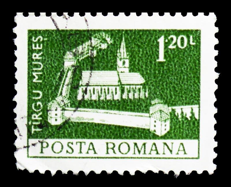Tirgu Mures citadell, Definitives - monumentserie, circa 1973 royaltyfri fotografi