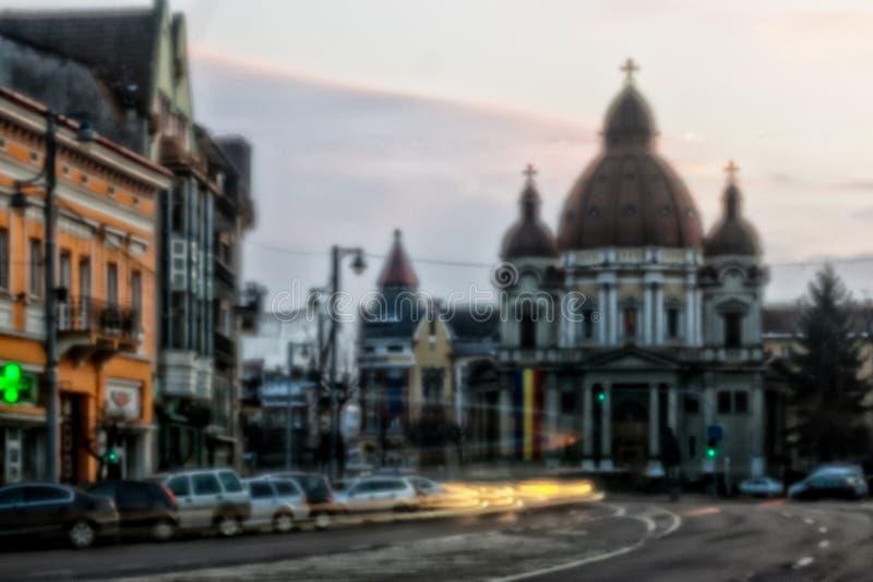 Tirgu-Mures de speldeprikkleur van de binnenstad stock fotografie