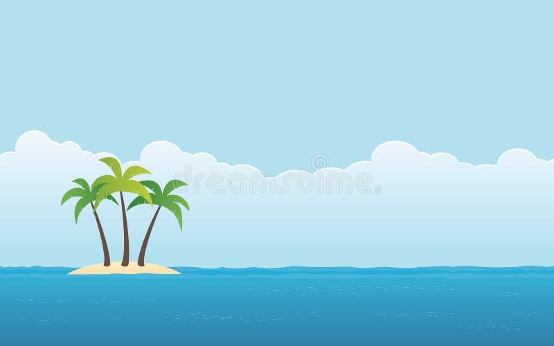 Tiri con la palma su poco fondo del cielo blu e dell'isola nella progettazione piana dell'icona royalty illustrazione gratis