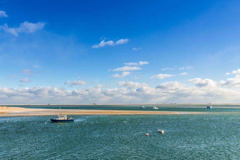 Tiri di pesca nel codice del capo del porto, U.S.A. fotografia stock