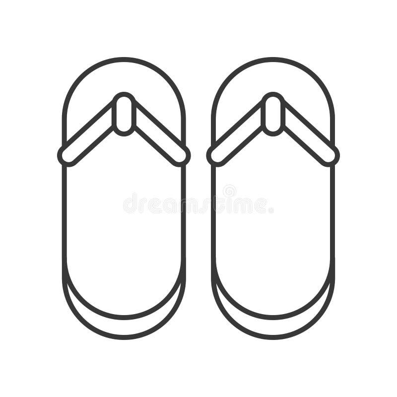 Tiri i sandali in secco, la linea sottile semplice pixel dell'icona perfetto illustrazione vettoriale