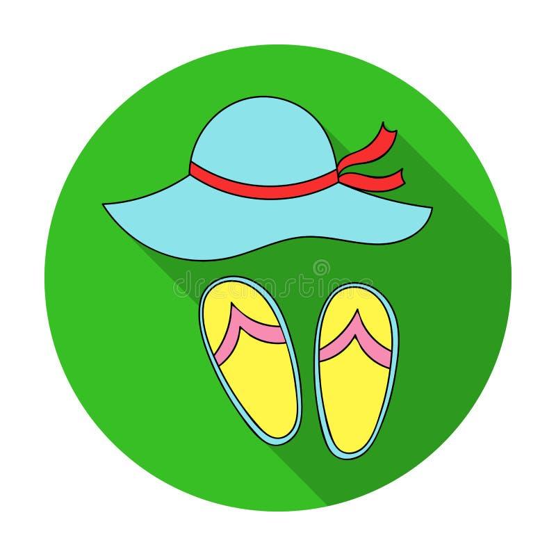 Tiri il cappello in secco con l'icona di flip-flop nello stile piano isolata su fondo bianco Vettore delle azione di simbolo di f illustrazione vettoriale