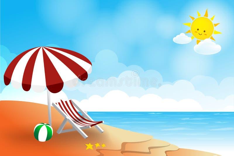 Tiri il fondo in secco dell'estratto dell'estate del cielo e della nuvola del sole del mare del paesaggio royalty illustrazione gratis