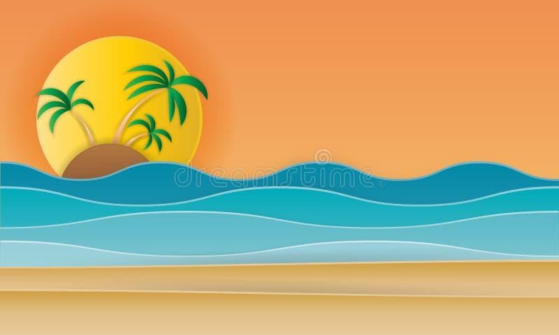 Tiri il paesaggio in secco con stile piano di progettazione del sole della spiaggia royalty illustrazione gratis