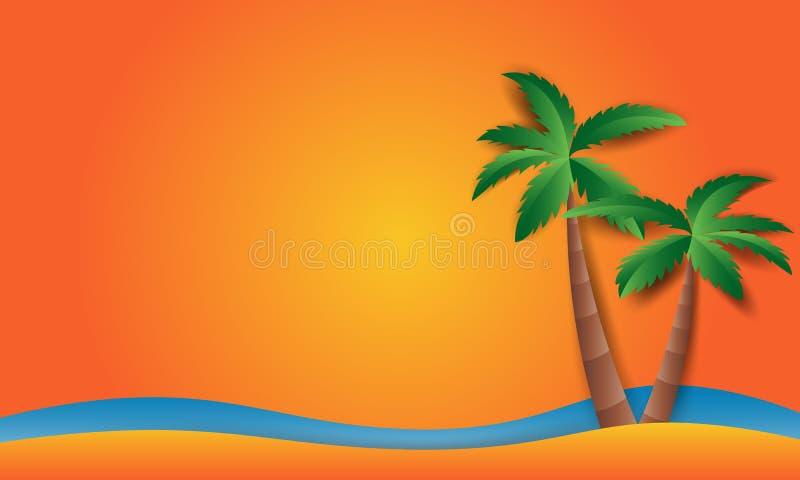 Tiri il paesaggio in secco con stile piano di progettazione del sole della spiaggia illustrazione vettoriale