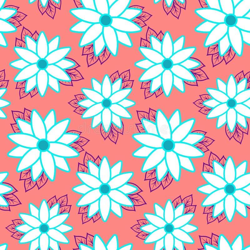 Tiri la carta da parati in secco senza cuciture allegra del modello delle foglie verde scuro tropicali delle palme e fiorisce l'u illustrazione di stock