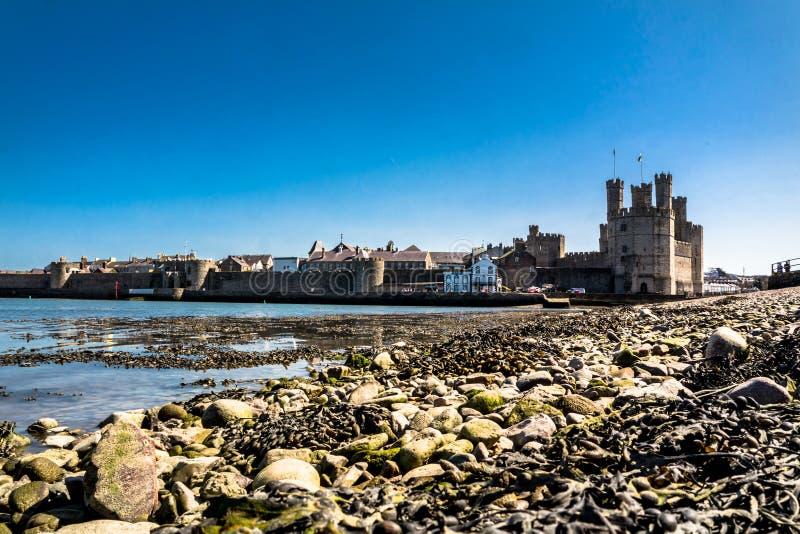 Tiri la vista in secco del castello storico Caernafon, Gwynedd Galles - nel Regno Unito fotografia stock libera da diritti
