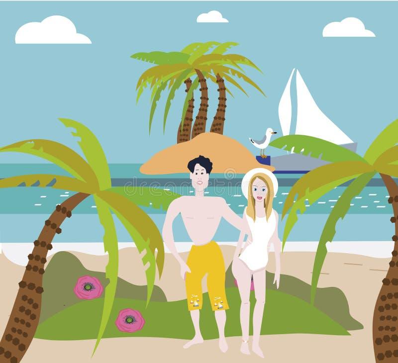 Tiri le coppie in secco che camminano sulle vacanze estive romantiche di vacanza di luna di miele di viaggio romanzesche Retrovis illustrazione di stock