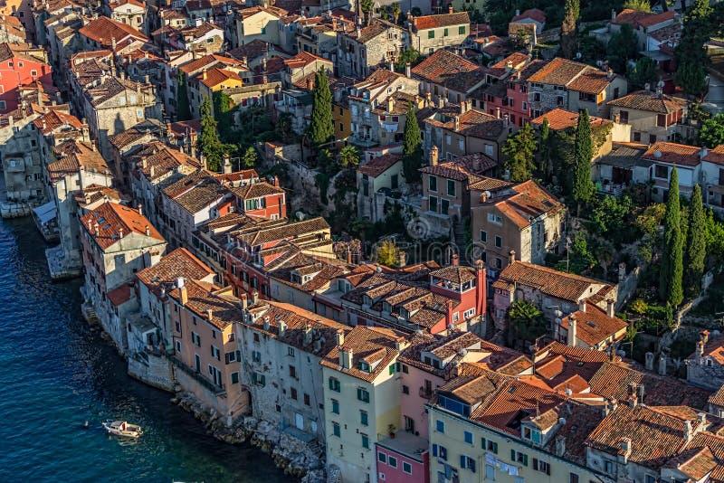 Tiro aéreo de Rovinj, Croatia foto de stock royalty free