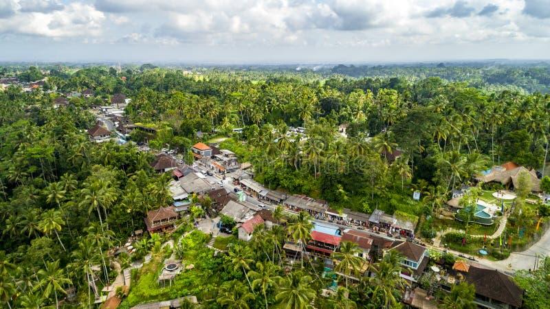 Tiro aéreo del pueblo de la tierra del verde de Tegallalang Mercado del recuerdo a lo largo del camino cerca de Tegallalang imagen de archivo libre de regalías