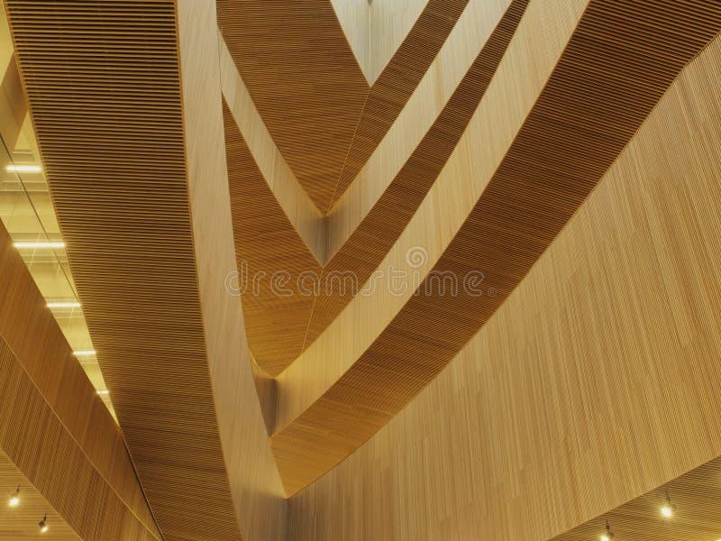Tiro abstracto de los interiores de madera en la nueva biblioteca p?blica central de Calgary imagen de archivo libre de regalías