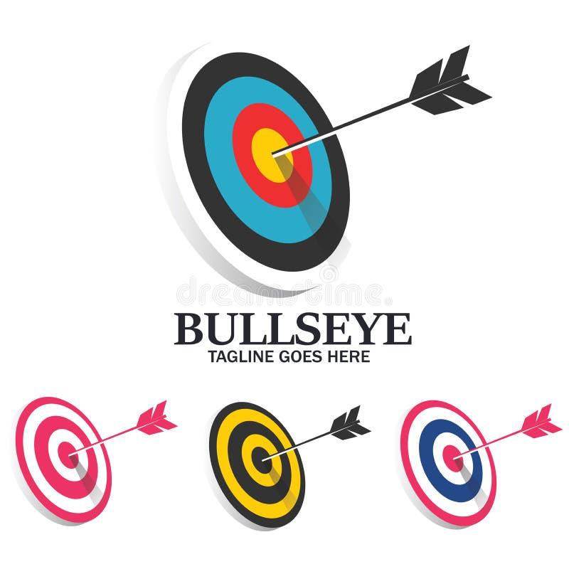 Tiro al arco Logo Design del negocio de la solución del juego de la blanco ilustración del vector