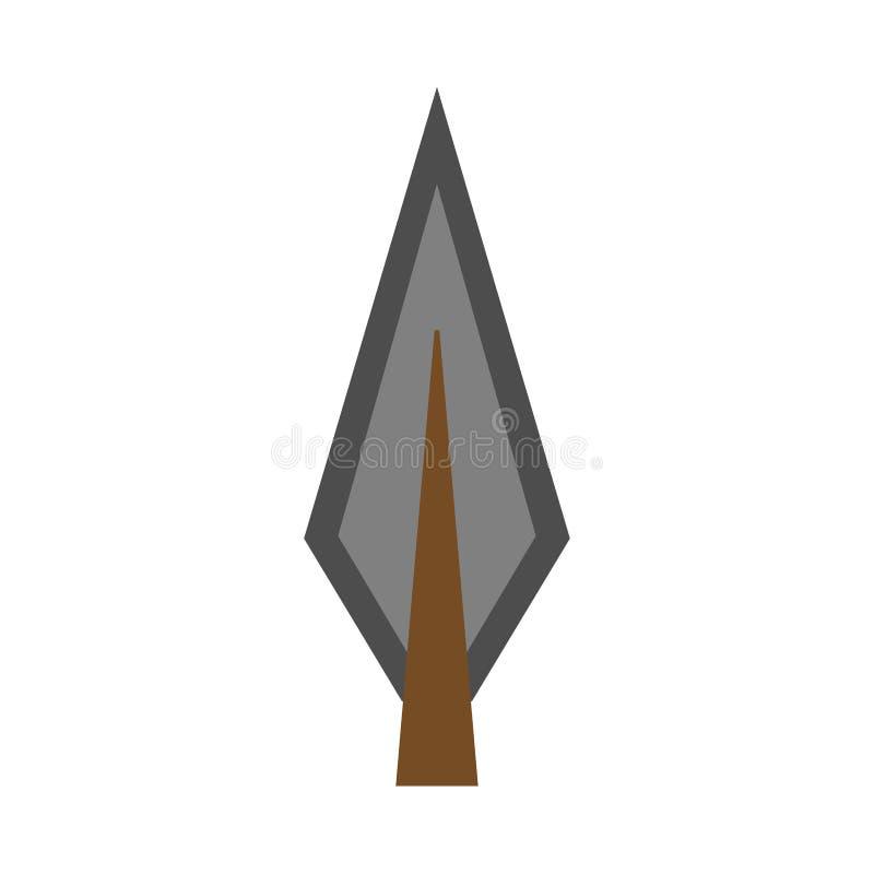 Tiro al arco plano del elemento de la forma del vector del arco de la punta de flecha Icono tribal del arma retro stock de ilustración