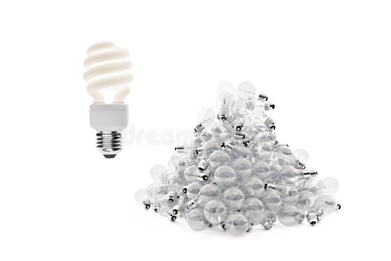 Tiro ancho del bulbo fluorescente sobre el tungsteno foto de archivo libre de regalías