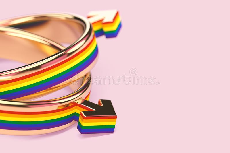 Tiro ascendente cercano en dos anillos de bodas masculinos gay en fondo rosado en colores pastel Los matrimonios homosexuales pub stock de ilustración
