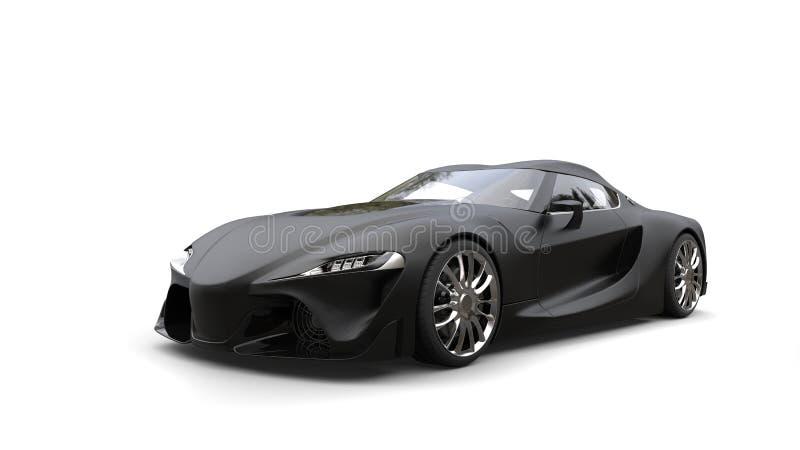 Tiro automobilístico da beleza dos esportes super pretos matte surpreendentes ilustração stock