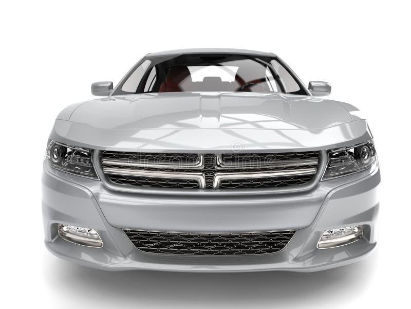 Tiro automobilístico rápido moderno de prata metálico brilhante do close up da vista dianteira ilustração stock