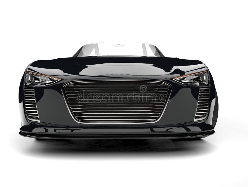 Tiro automobilístico super do close up da opinião dianteira do cabriolet moderno brilhante do negro como o azeviche ilustração royalty free