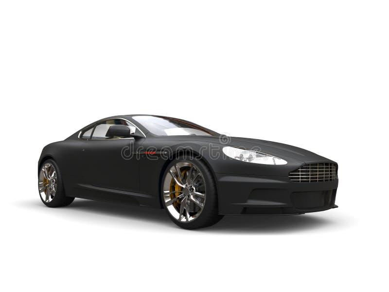 Tiro automotriz de la belleza de los deportes de lujo modernos negros mates ilustración del vector