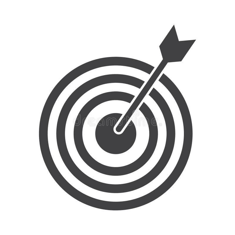 Tiro bem sucedido Ícone do alvo do alvo dos dardos no fundo branco Ilustração do vetor ilustração stock