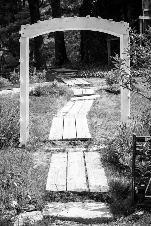 Tiro blanco y negro de un camino de madera a través de un pequeño arco en un bosque imagenes de archivo