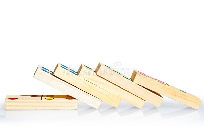 Tiro caído do macro dos dominós foto de stock