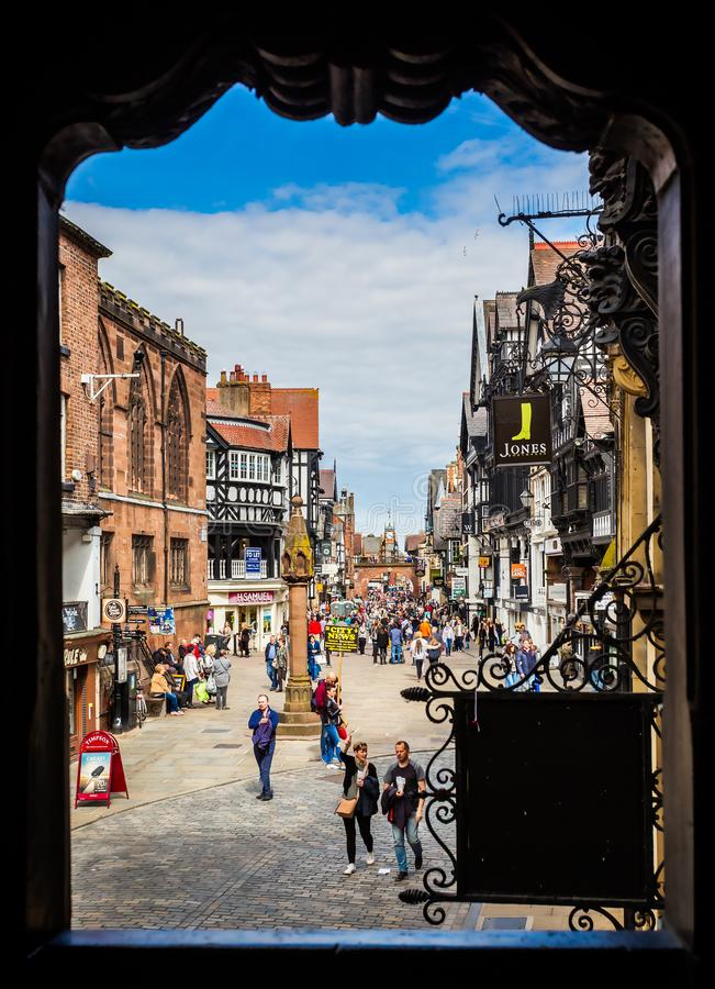 Tiro capítulo de la calle principal, Chester, Reino Unido foto de archivo libre de regalías