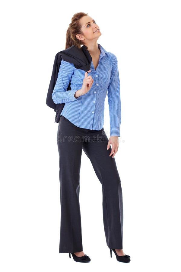 Tiro cheio do pose da mulher de Busines sobre o branco imagem de stock royalty free