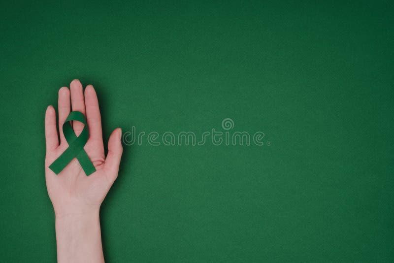 tiro colhido da mão fêmea com a fita verde da conscientização para a fita verde da conscientização para a escoliose, símbolo da s imagem de stock