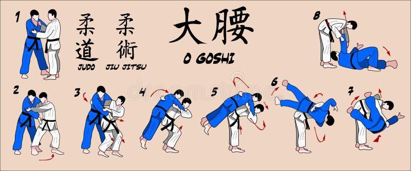 Tiro completo dell'anca di judo illustrazione di stock