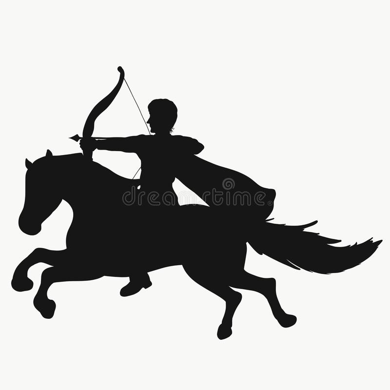 Tiro con l'arco in un impermeabile su un cavallo galoppante illustrazione vettoriale