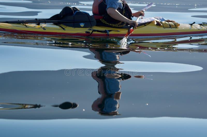 Tiro cosechado del hombre que bate el kajak en el Océano Pacífico tranquilo vidrioso que muestra la reflexión clara fotos de archivo