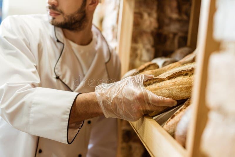 tiro cosechado del panadero que pone la barra de pan en estante imágenes de archivo libres de regalías