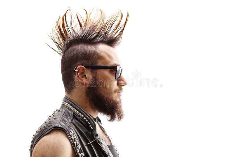 Tiro da cara do perfil de um punker masculino com penteado do mohawk fotos de stock royalty free