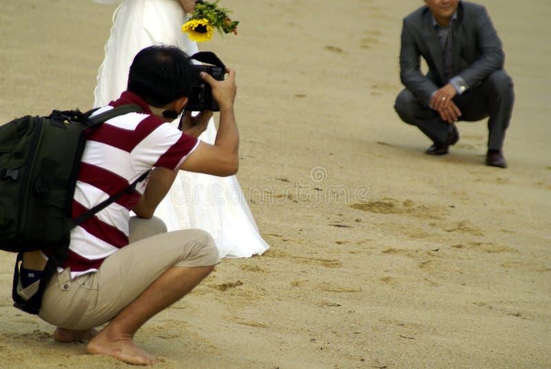 Tiro de foto do casamento na praia fotos de stock royalty free
