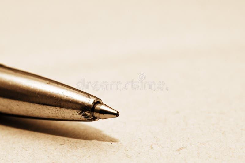 Tiro de la macro de la extremidad de bolígrafo imagen de archivo libre de regalías