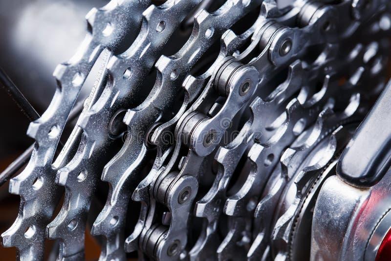 Tiro de la macro del casete de la parte posterior de la bici de montaña CARTUCHO PARA BIKECARTRIDGE fotografía de archivo libre de regalías